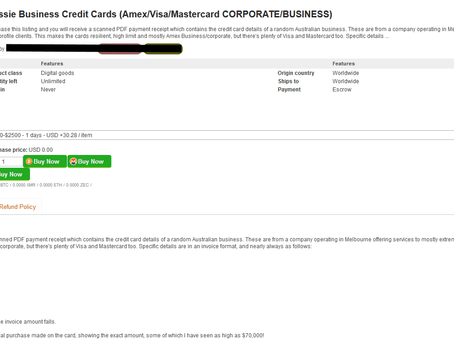 """Credit card details of Aussie businesses may be for sale on online """"dark web"""" marketplaces"""