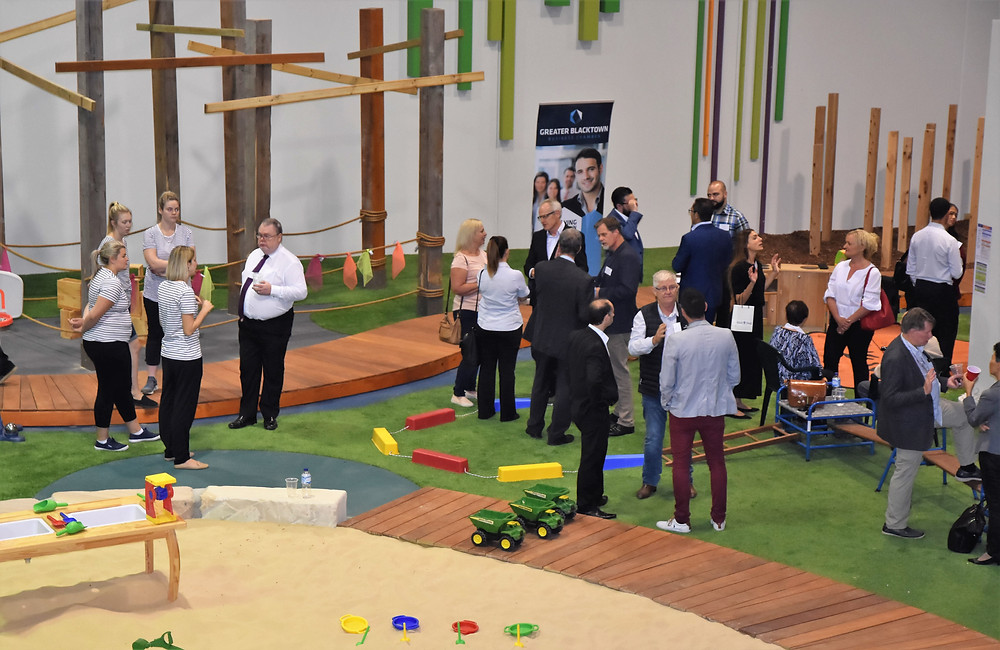 Greater Blacktown Business Chamber members mingle at the Grace Village Early Learning Centre.