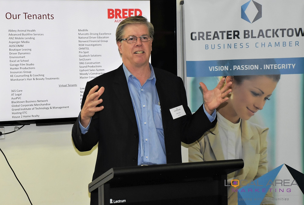 BREED CEO Bob Turner talking to Greater Blacktown Business Chamber members