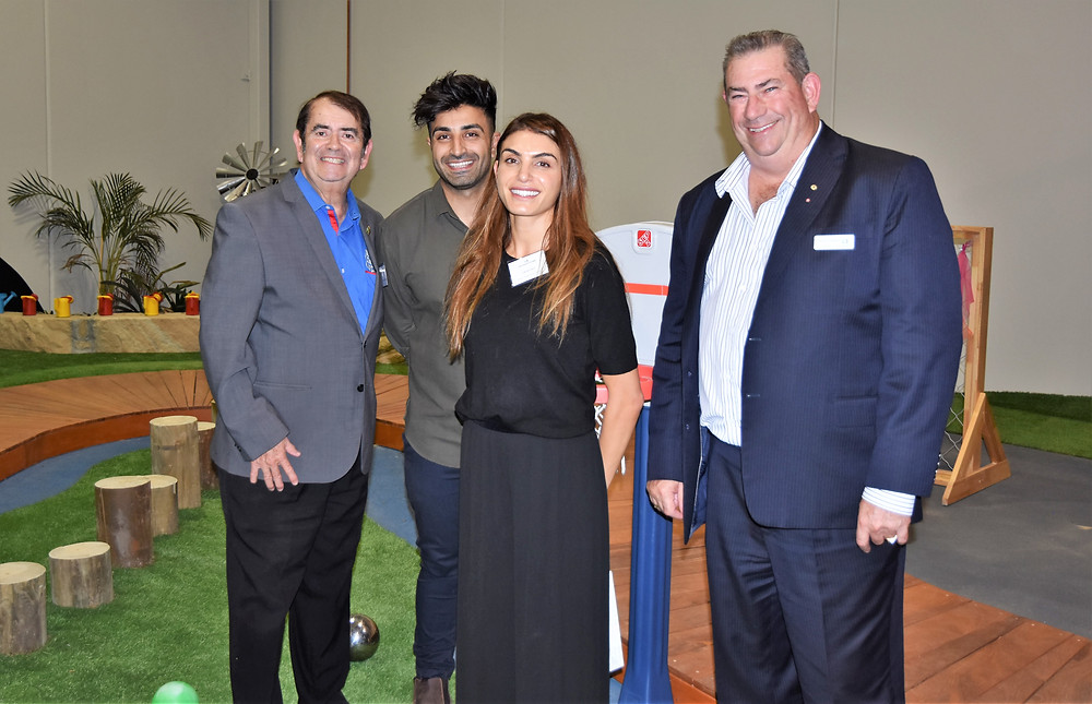 Grace Village Early Learning Centre proprietors Raymond and Chantel Grace (centre) with (left) Brian McCombe (The Good Guys) and Greater Blacktown Business Chamber President Trevor Oldfield