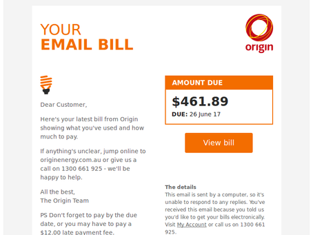 Another business scam: One in four hit by fake Origin Energy bill malware attack