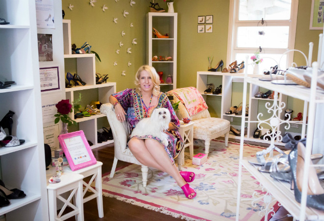 Carol Haffke in her homely shoe store