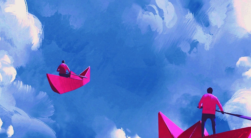Sky painting with red paper boats
