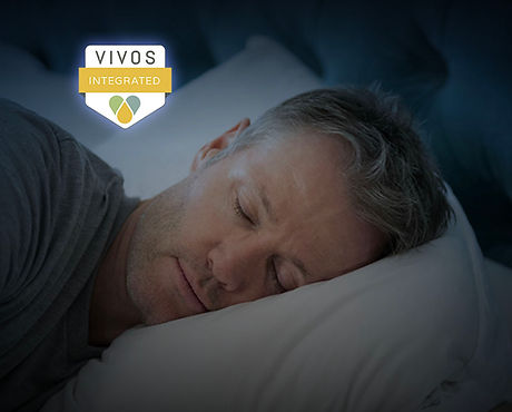 Man sleeping and Vivos Integrated Provider badge