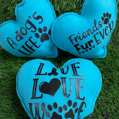 Plush Squeaky Heart Dog Toys, 2 Set Blue