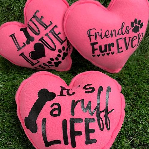 Plush Squeaky Heart Dog Toys, 2 Set Pink