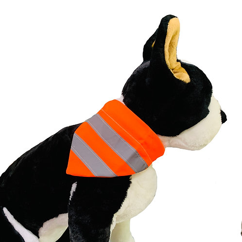 Reflective Neon Orange Visibility Over-the-Collar Dog Bandana