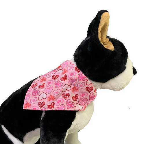 Glittery Hearts Valentine's Day Over-the-Collar Dog Bandana
