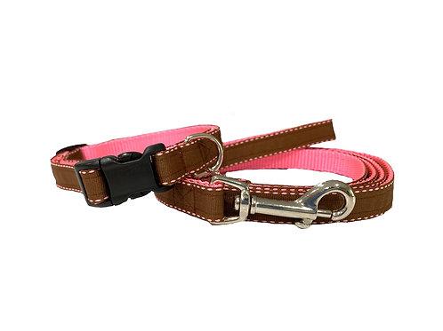 Brown/Pink Lollipop Stripes Adjustable Dog Collar & Leash Combo