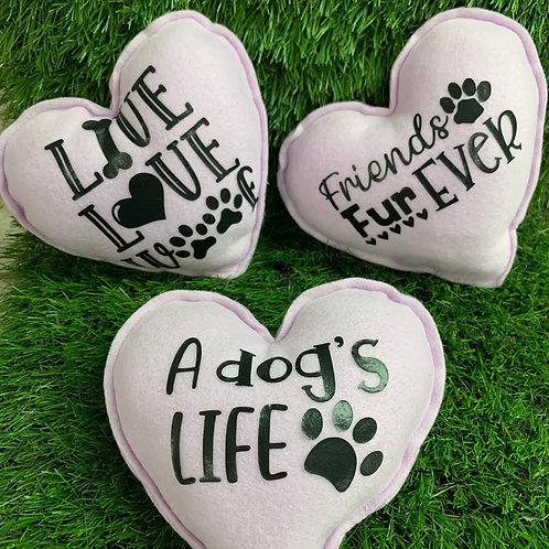 Plush Squeaky Heart Dog Toys, 2 Set Purple