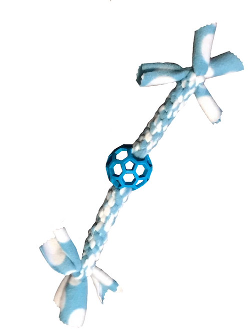 Ball Fleece Knotted Tug Dog Toy, Blue/White