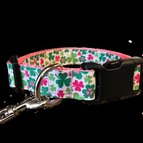 Shamrocks Lucky Clover Adjustable Dog Collar