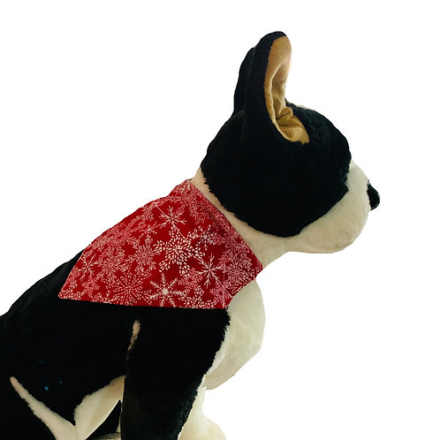 Winter Frost Snowflakes Red Over-the-Collar Dog Bandana
