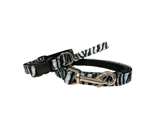 Zebra Adjustable Dog Collar & Leash Combo