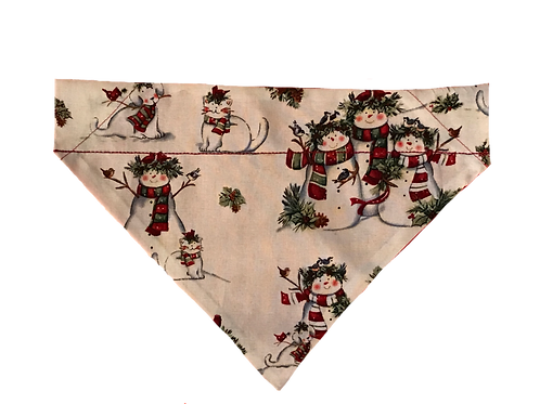 Snowmen with Pets Over-the-Collar Dog Bandana, Reversible