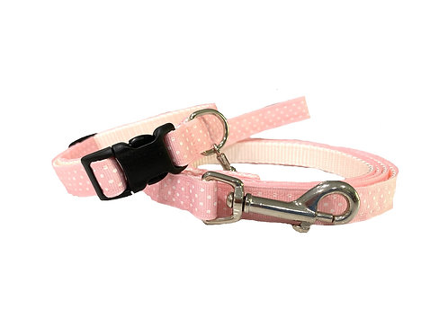 Pink/White Swiss Dots Adjustable Dog Collar & Leash Combo