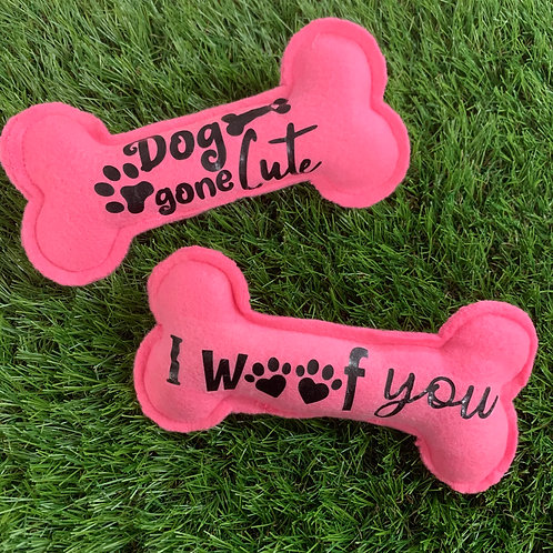 Plush Squeaky Bone Dog Toys, 2 Set Pink