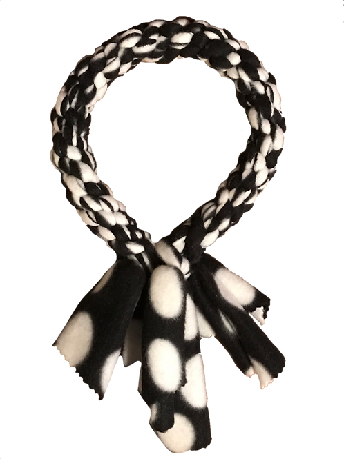 Ring Fleece Knotted Tug Dog Toy, Black/White