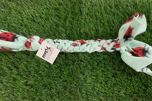 Fleece Knotted Tug Dog Toy, Ladybugs