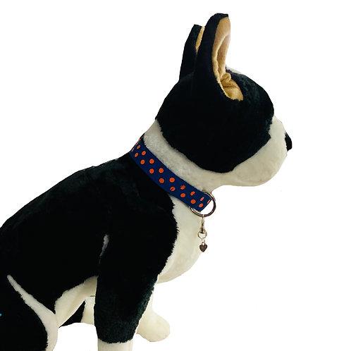Orange Polka Dots Adjustable Dog Collar