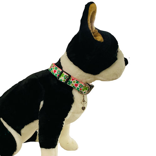 Shamrocks Lucky Clover Adjustable Dog Collar