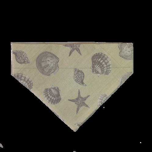 Seashells Over-the-Collar Dog Bandana, Reversible