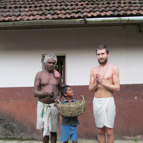 Gopala, Krishna (his son,) and Atmarama holding the newly woven basket