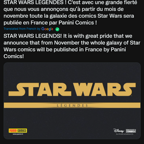 Star Wars Legends comics coming to France