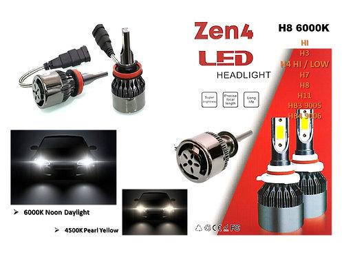 H8 6000K DAYLIGHT ZEN4 36W/3800LM LED HEADLIGHT Super Brightness design
