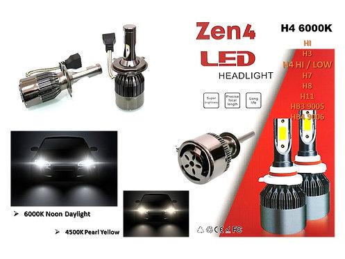 H4 HI / LOW 6000K DAYLIGHT ZEN4 36W LED HEADLIGHT Super Brightness design