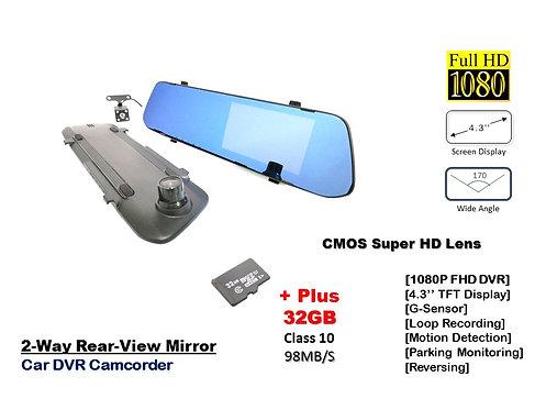 TKC 4.3'' FULL HD 1080P MIRROR CAR DVR CAMCORDER Wide view 170 Dual lens Dashcam