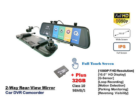 TKC 10.0'' MIRROR CAR DVR CAMCORDER, Touch Screen