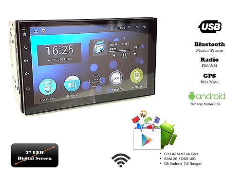 TKC 7'' USB GPS BT WI-FI ANDROID DOUBLE DIN PLAYER