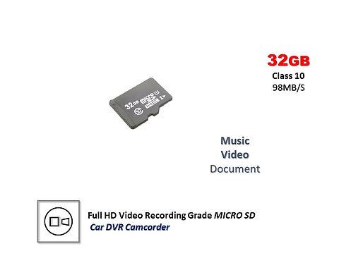 32GB CLASS 10 98MB/S MICRO SD CARD Full HD Video recording Car DVR Grade