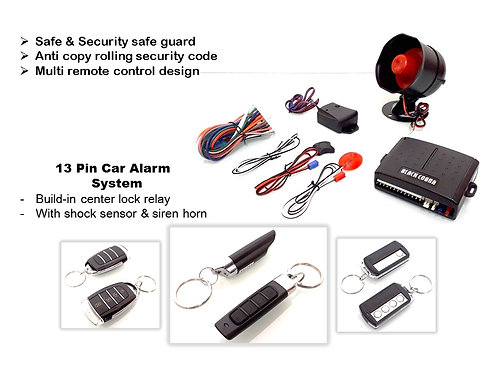 13 PIN BLACK COBRA CAR ALARM, Full set. Mx1