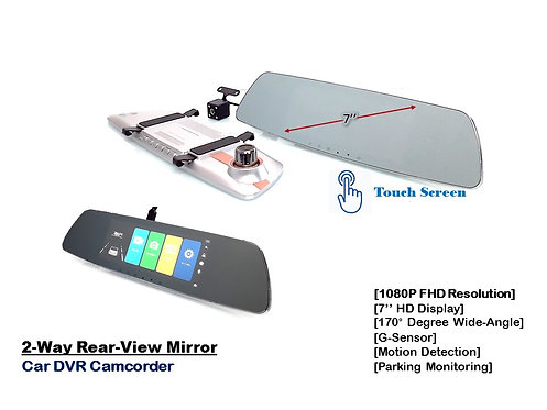 7'' FULL HD TOUCH SCREEN 2-WAY CAR DVR CAMCORDER