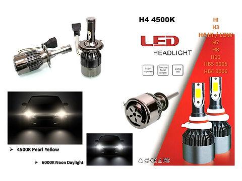 H4 HI / LOW 4500K YELLOW ZEN4 36W LED HEADLIGHT