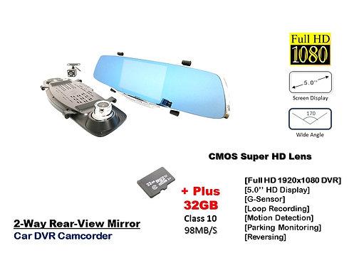 TKC 5.0'' FULL HD 1080P MIRROR CAR DVR CAMCORDER Wide view 170 Dual lens Dashcam