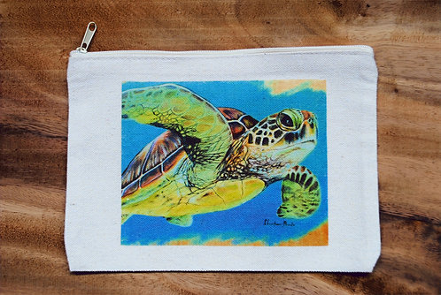 Canvas Pouch- Flying Honu