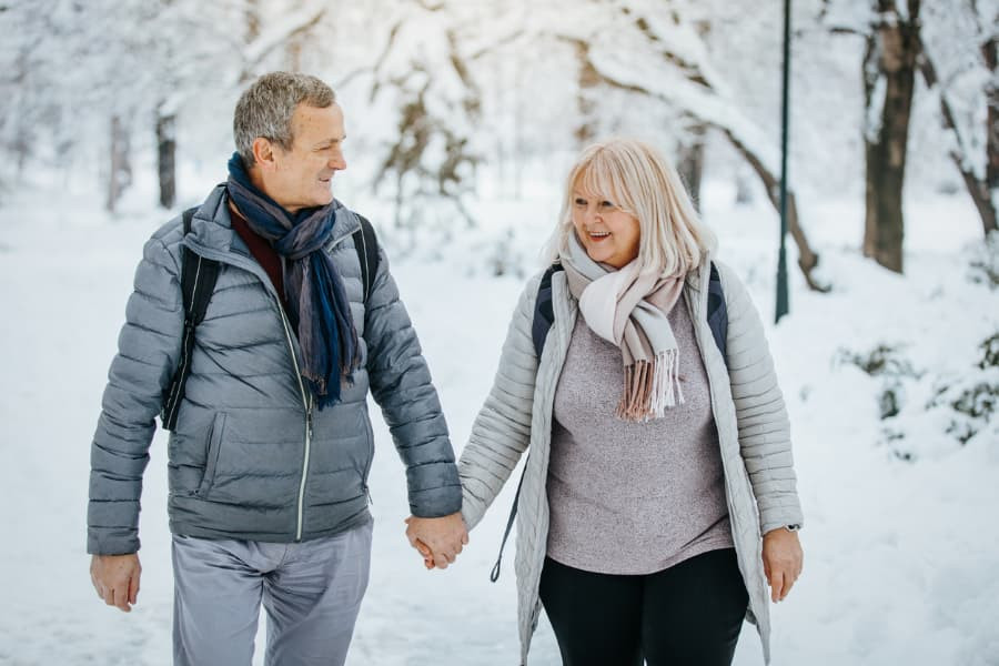 Couple Enjoying Winter Walk