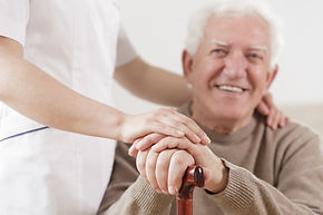 Senior citizen and nurse