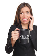 Stressed out woman holding coffee