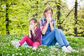 Mom and Child suffering from allergies