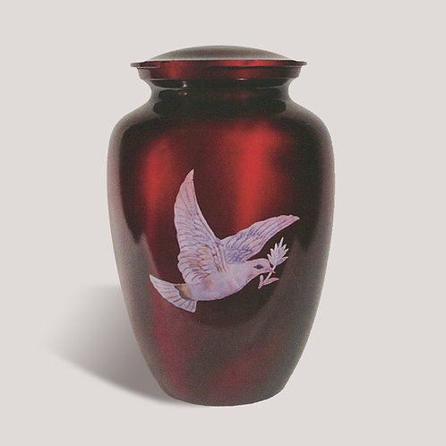 White Dove on Red Funeral Urn