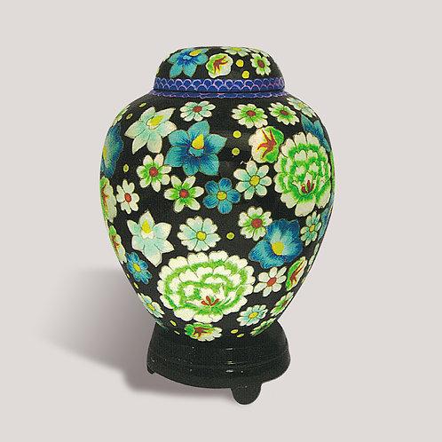 Blue Floral Funeral Urn