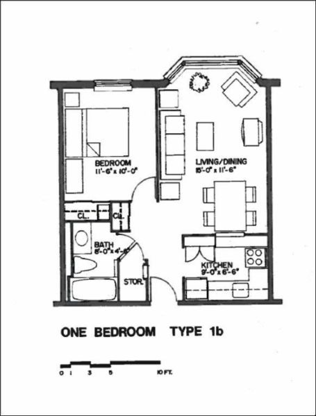 floorplan of a 1 bedroom unit