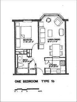 floorplan of a 1 bedroom unit