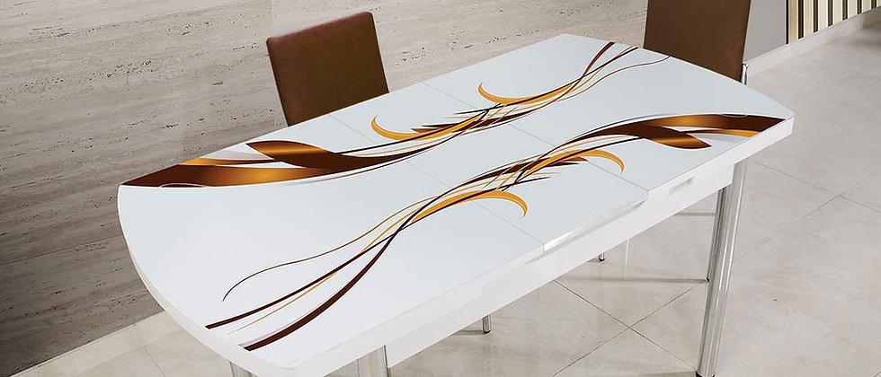 שולחן דגם גלים צבע חום