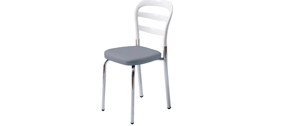 כסא דגם דקל צבע לבן עם מושב אפור