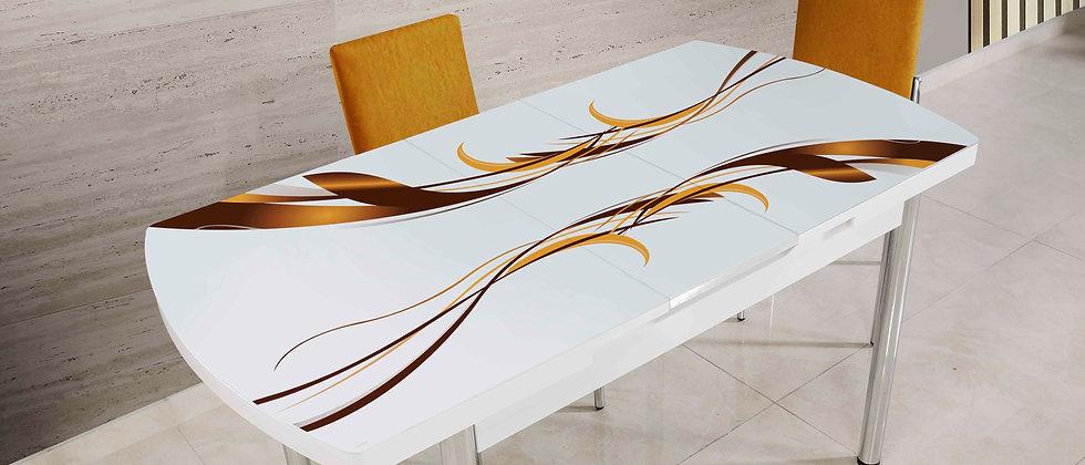 שולחן דגם גלים צבע חרדל